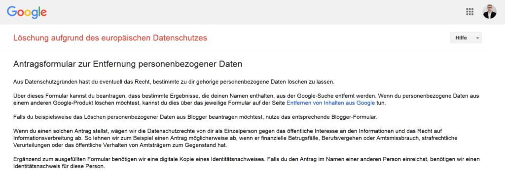 Screenshot: Google bietet ein Formular zur Löschung personenbezogener Daten an.